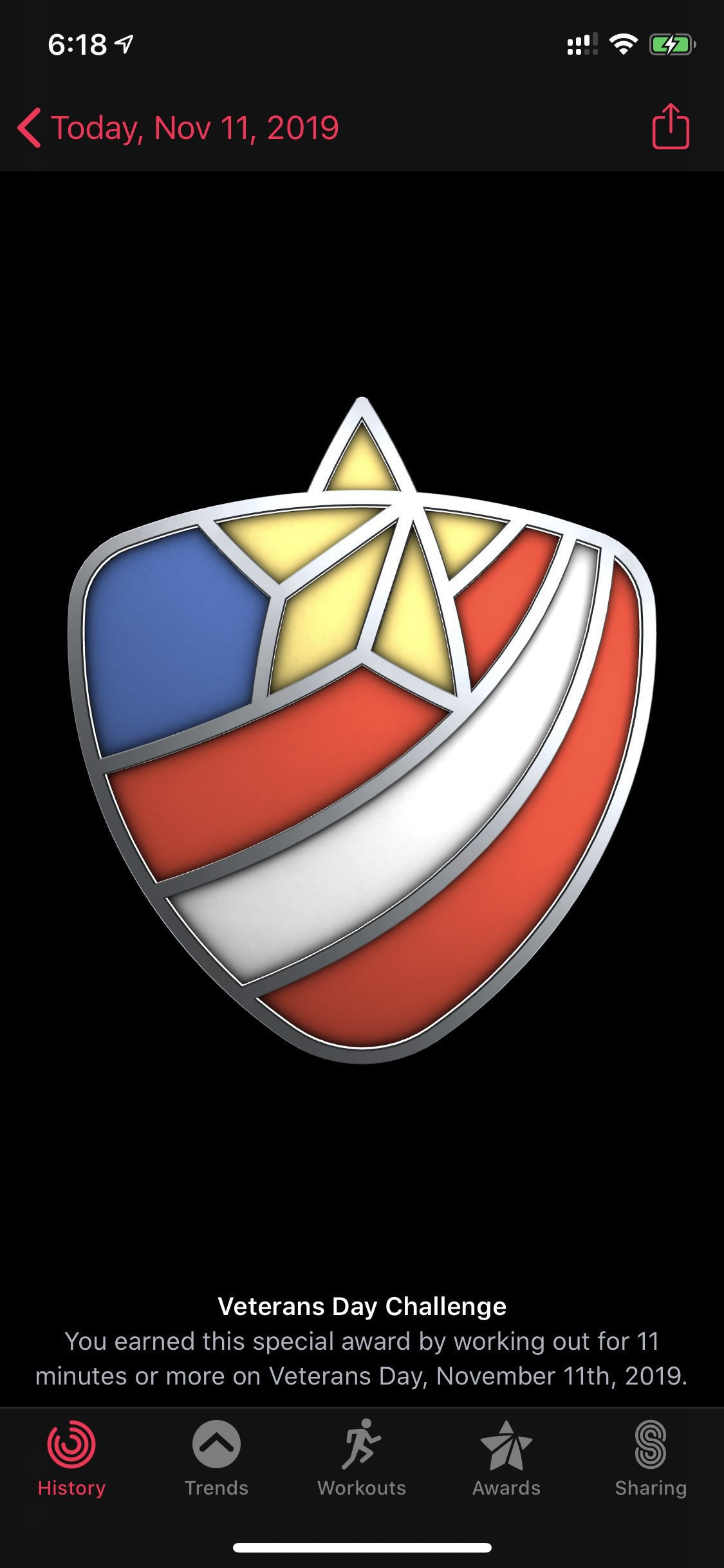screenshot of apple watch badge