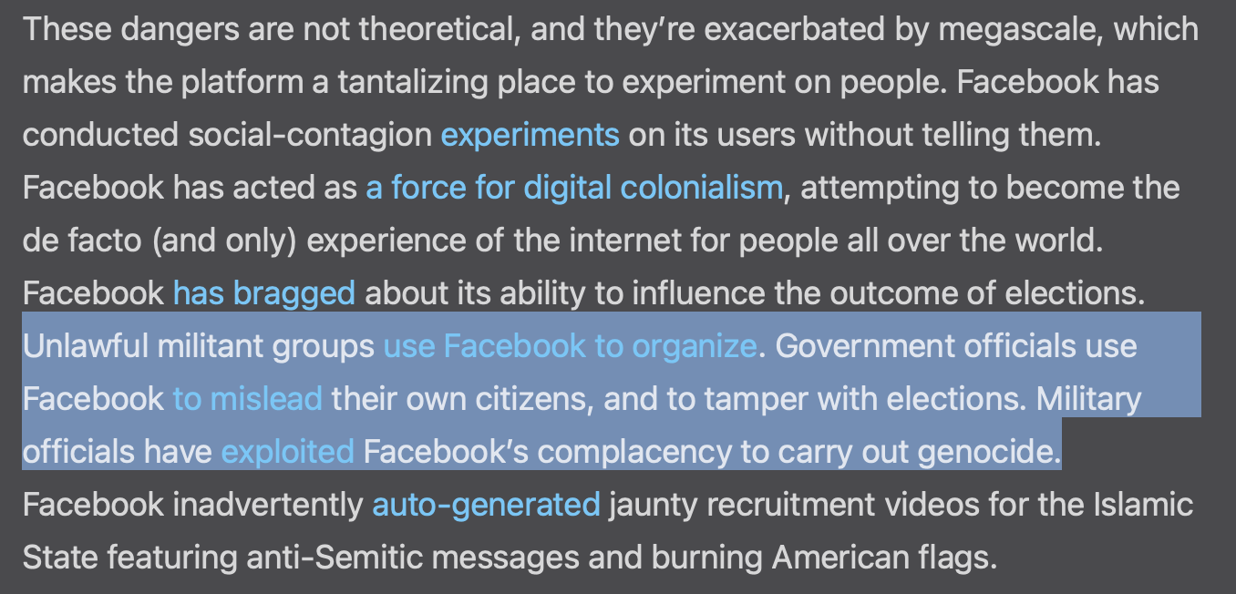 """Snippet of the Atlantic article, """"Facebook is a Doomsday Machine"""""""
