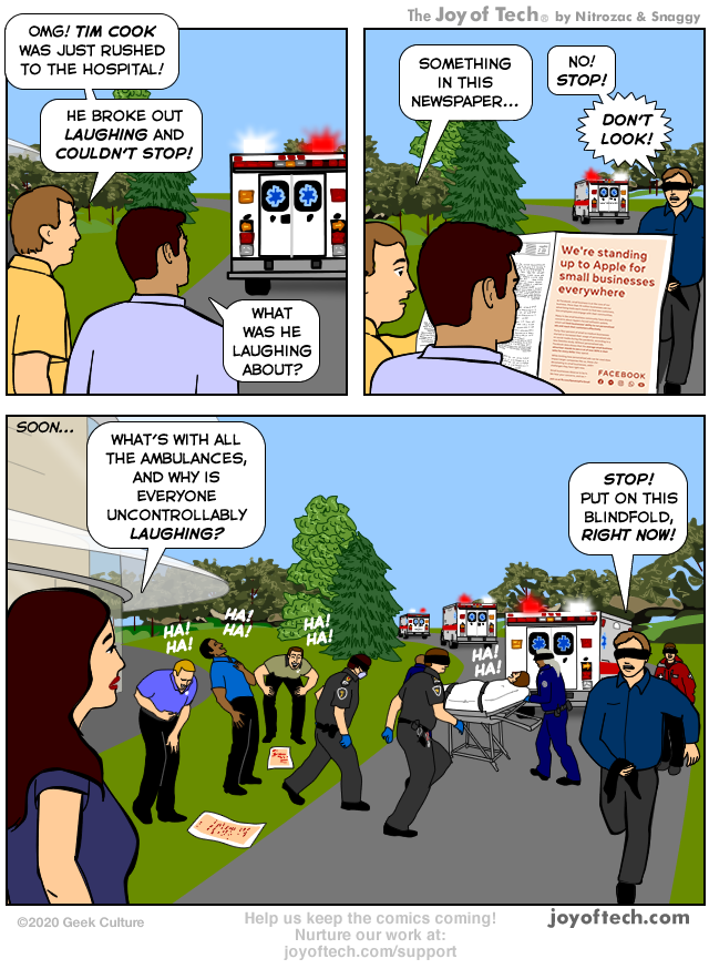 Comic from Joy of Tech about Facebook's print ad