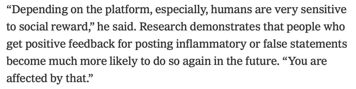 """Article snippet from NYT """"Belonging is stronger than facts"""""""